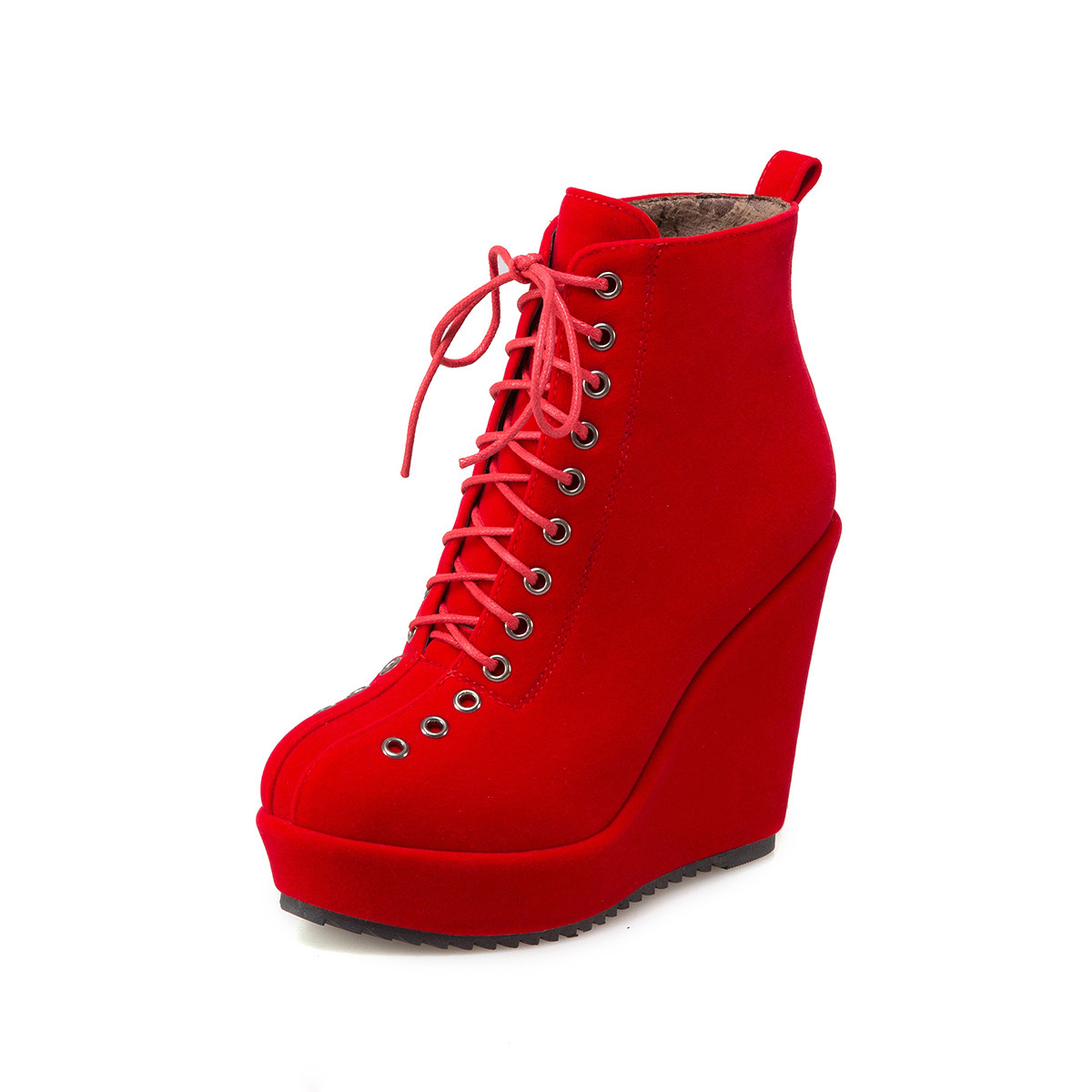 7bd1fdd1ae601 Detail Feedback Questions about BONJOMARISA Women's Lace Up Vintage High  Heel Wedge Shoes Woman Round Toe Platform Ankle Boots Big Size 34 43 on ...