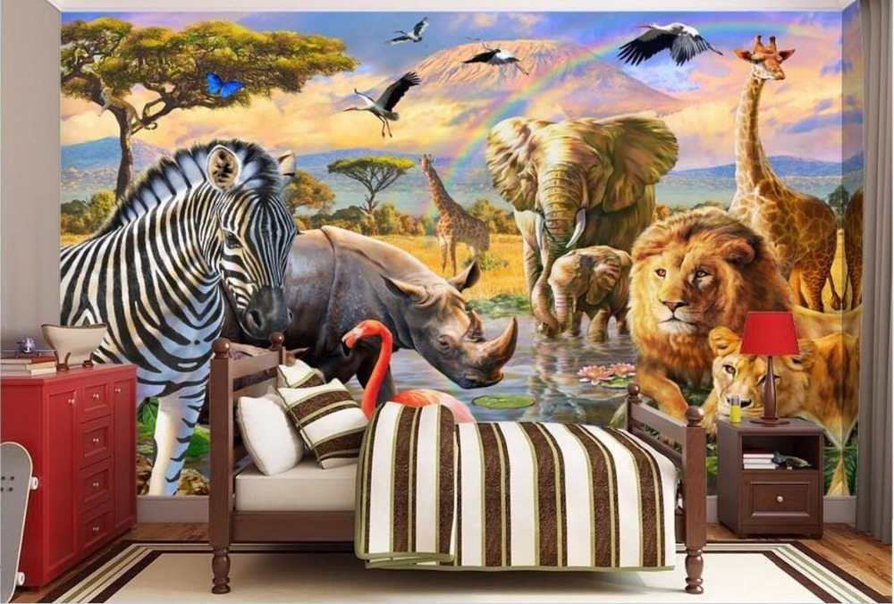 3d Wallpaper Custom Mural Photo Grassland Animal World