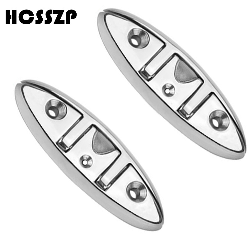 2 Pieces 6 Flip Up Cleats 316 Stainless Steel Marine Flush Folding Pull up Cleat Deck