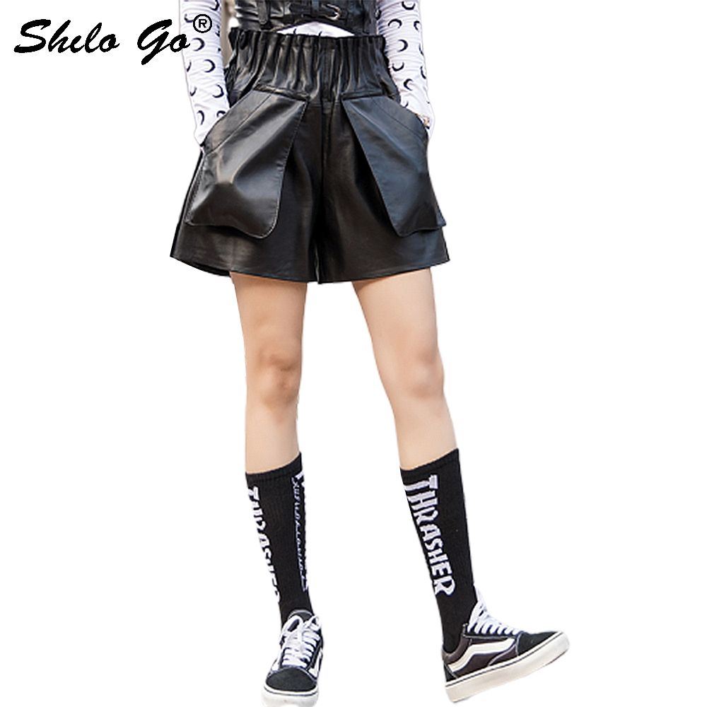 Streetwear Leather Shorts Women Casual Elastic High Waist Sheepskin Genuine Leather Wide Leg Shorts Big Pocket Loose Hot Shorts