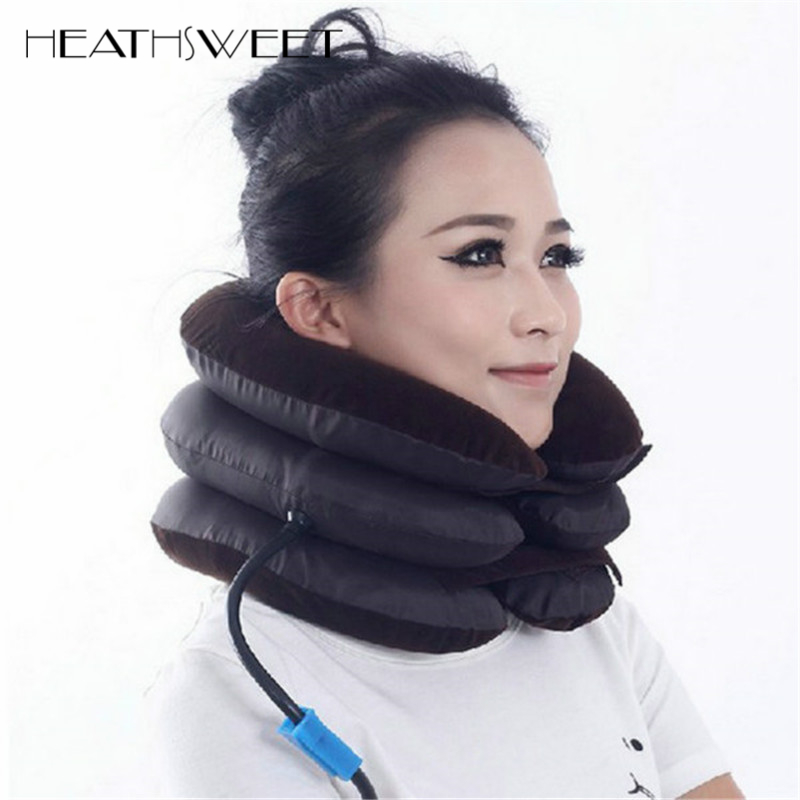Healthsweet Air Neck Cervical Traction Device Soft Neck Support Brace Inflatable Collar Household Equipment Neck Massage Pillow adjustbale cervical traction device household cervical traction support cervical collar stretch