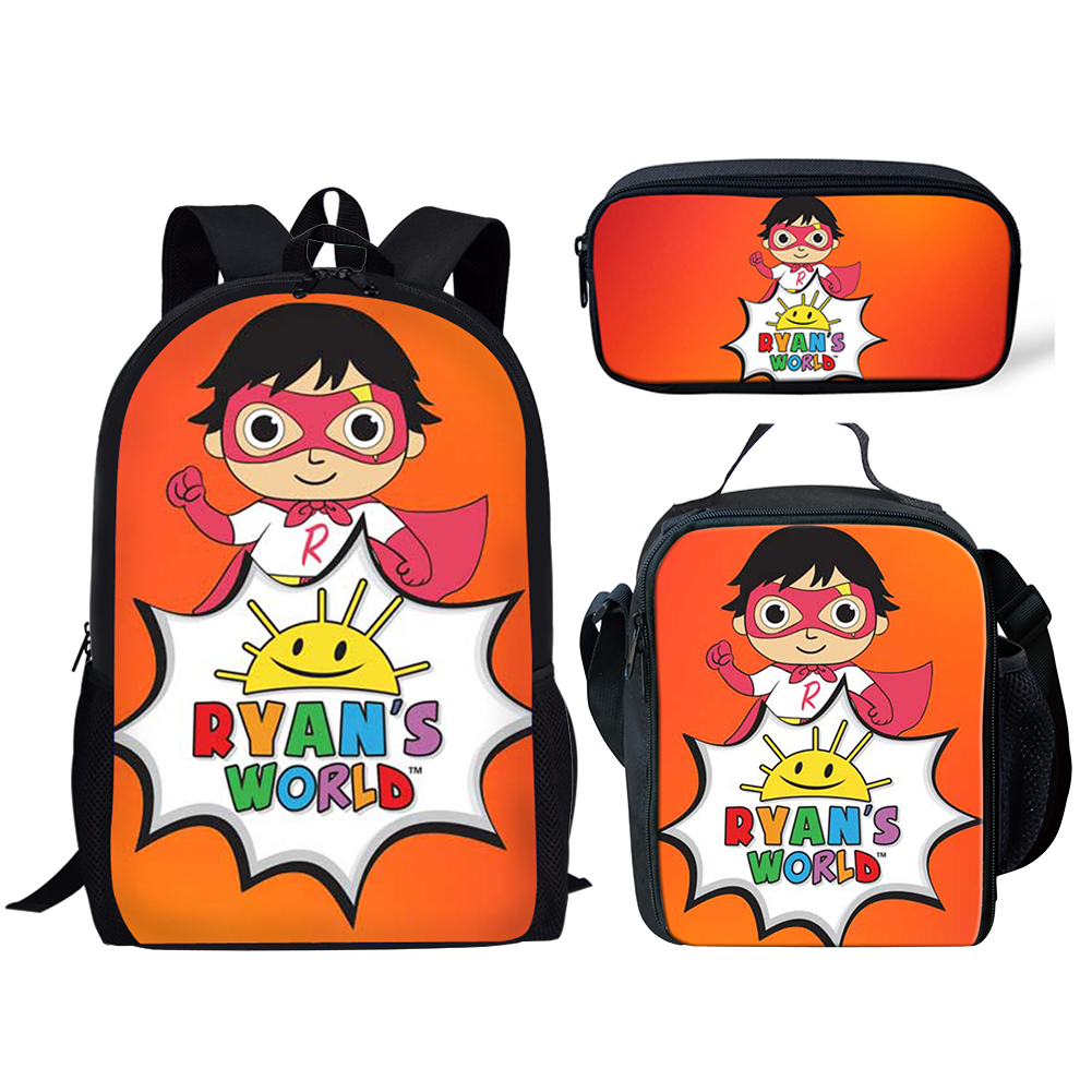 THIKIN Ryan's World Print Backpack For Teenage Boys Girls Student School Bags YouTube Stars 3pcs/set Children Daily Bags Mochila
