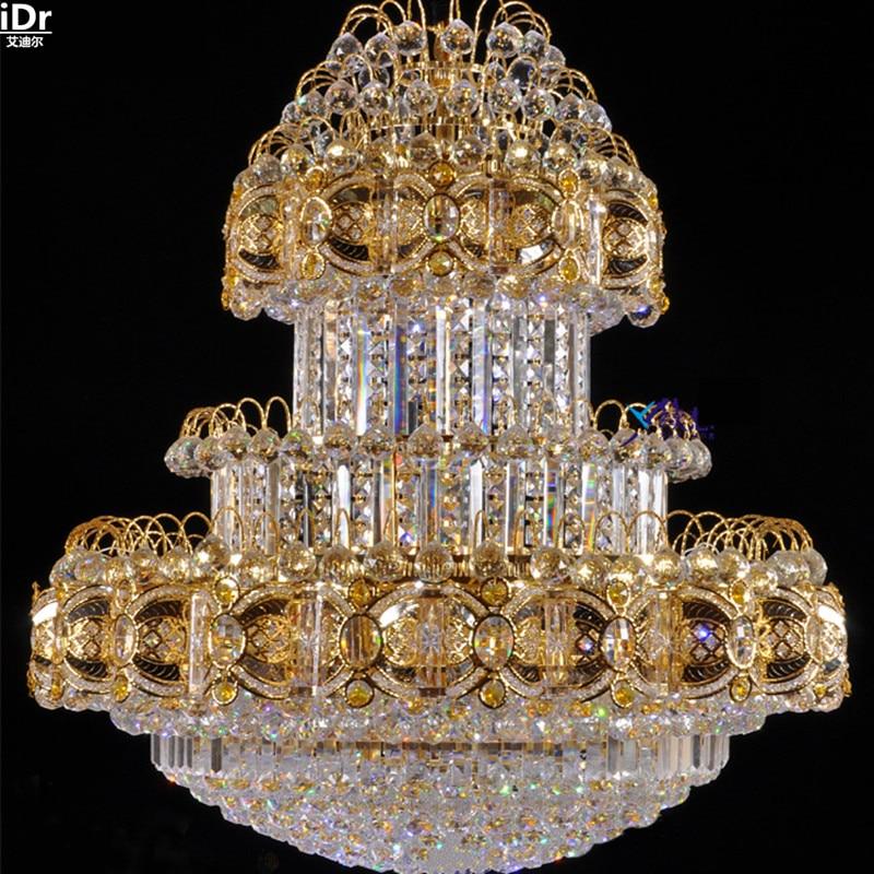 Wohnzimmer Boden Penthouse Hotel Kristall Scheinwerfer SMD Led Traditionellen Lampen Gold Kronleuchter Lmy
