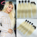 Malaysian Virgin Ombre Blonde Hair Weaves 4 Bundles With Lace Closure Straight Human Hair 1B 613 Dark Root Ombre Blonde Hair