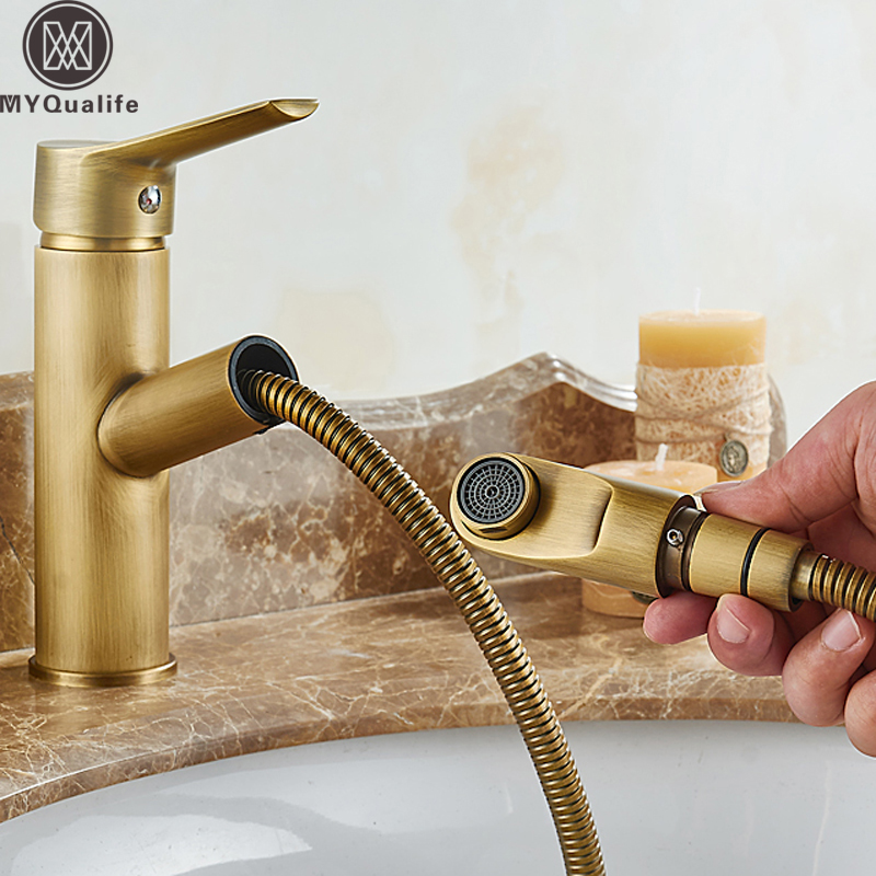Antique Brass Pull Out Bathroom Faucet Deck Mounted Vanity Sink Hot and Cold Basin Mixer Tap Deck Mounted Brass Crane Cock black brass vanity sink pull out faucet basin mixer hot and cold water for bathroom toilet kitchen