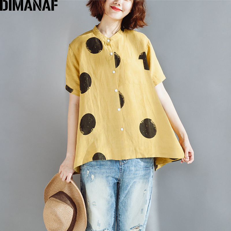 DIMANAF Women Summer   Blouses     Shirts   Plus Size Fashion Polka Dot Linen Short Tops 2018 New Female Clothing Oversized Loose   Blouse
