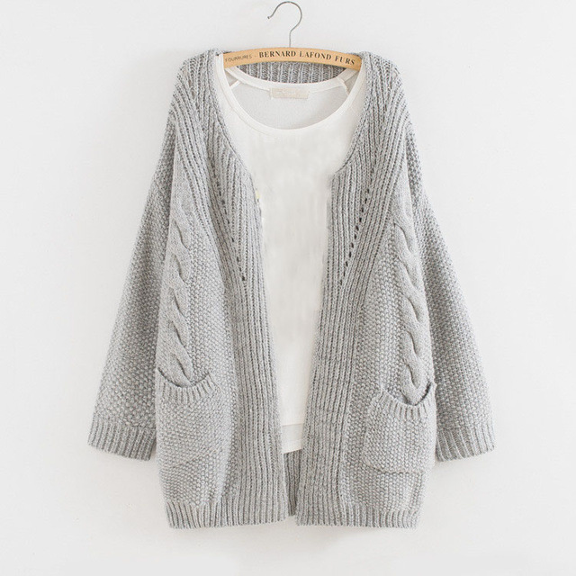 2015 Cardigan Women Autumn Light Gray Cashmere Cardigan Oversized ...