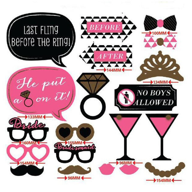 20 Pieces Sweet Girl 16 Birthday Bling Pink Paper Photo Booth Props