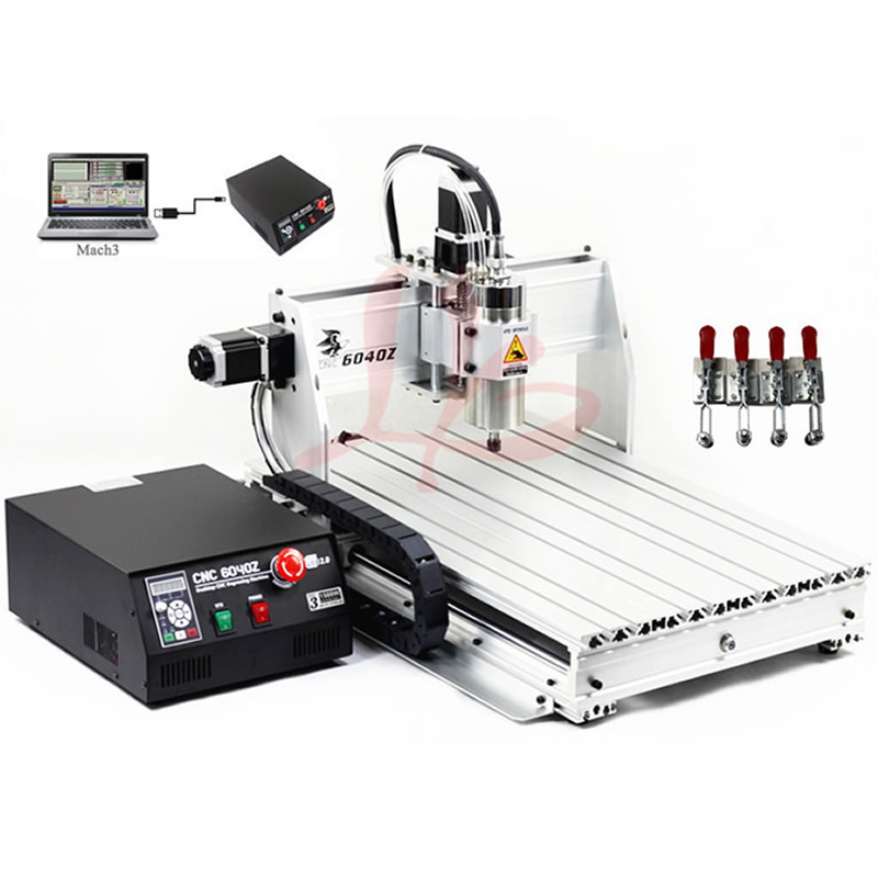 CNC Router 6040 Z-USB Mach3 engraving machine with 1.5KW VFD spindle and USB port + 4 pcs cnc frame cutting machine
