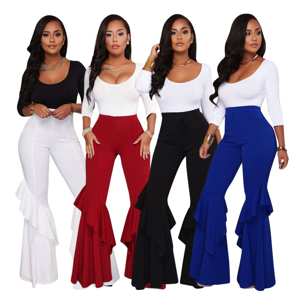 2019 New Irregular Ruffles   Wide     Leg     Pants   Women Elegant High Waist Pantalon Mujer Casual Streetwear Long Trouser