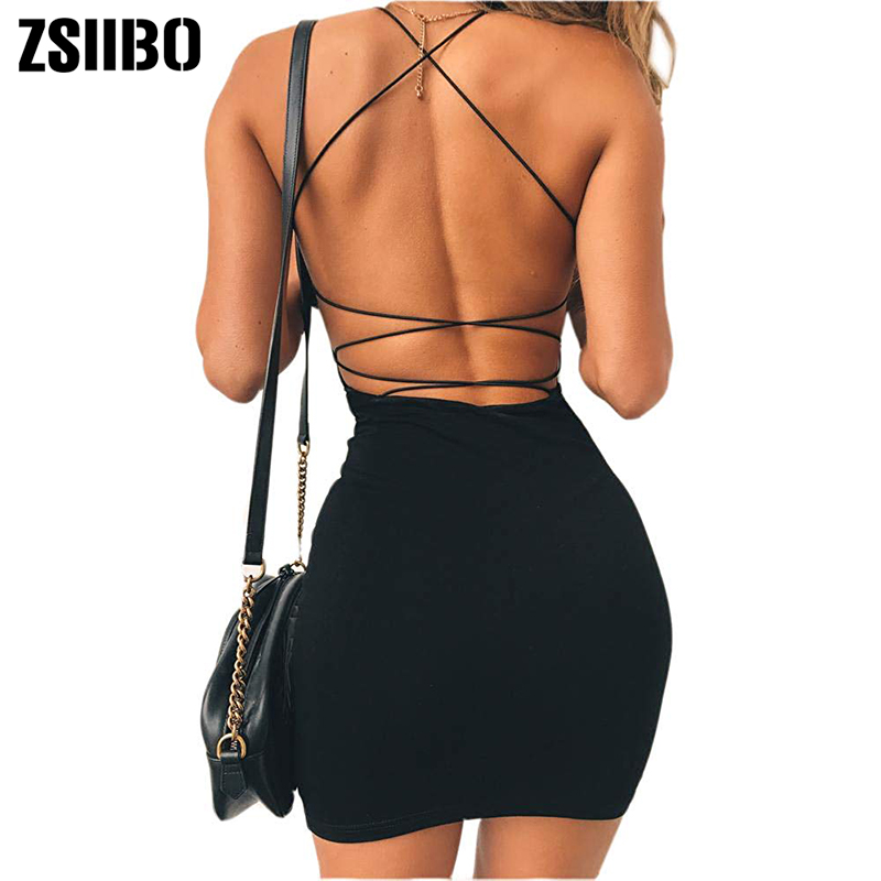 Mini Dress Clubwear Spaghetti-Straps Backless Bodycon Low-Neck Women Sexy title=