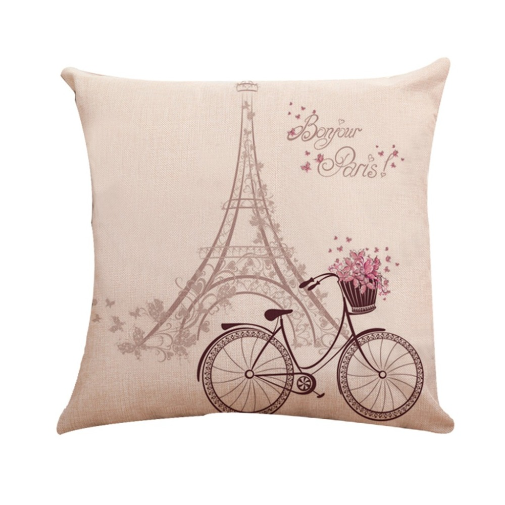 NAI YUE Square Cotton Linen Cushion Cover Cartoon Pattern Series Pink Pillow Covers Pillowcase Waist Throw Sofa Car Home Decor