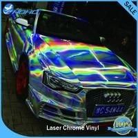 Hot Sale 1.49x20M 4.8x65FT Laser Chrome Silver Holographic Rainbow Car Wrap Vinyl