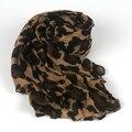 Moda Leopard Pañuelo de Gasa de Primavera Otoño Invierno de La Vendimia Larga Impresa Mujeres Abrigo de la Bufanda de Seda Suave Del Mantón de La Arruga Bufandas Poncho