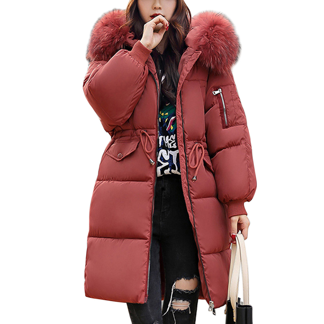 Fourrure Manteau Chaud En Taille Black Long Coton La À Plus Mince white Épais Rembourré Red Manteaux chestnut Capuchon Parka Femmes Fausse Outwear D'hiver Col Dames Veste gray vqz50w6