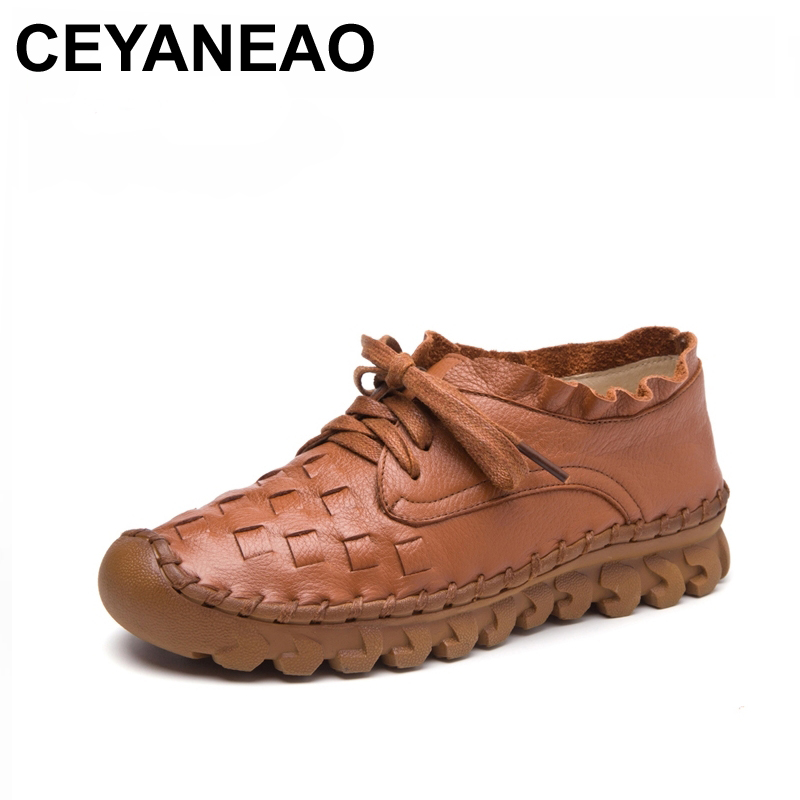 CEYANEAO New Women s Handmade Shoes Genuine Leather Flat Lacing Mother Shoes Woman Loafers Soft Single