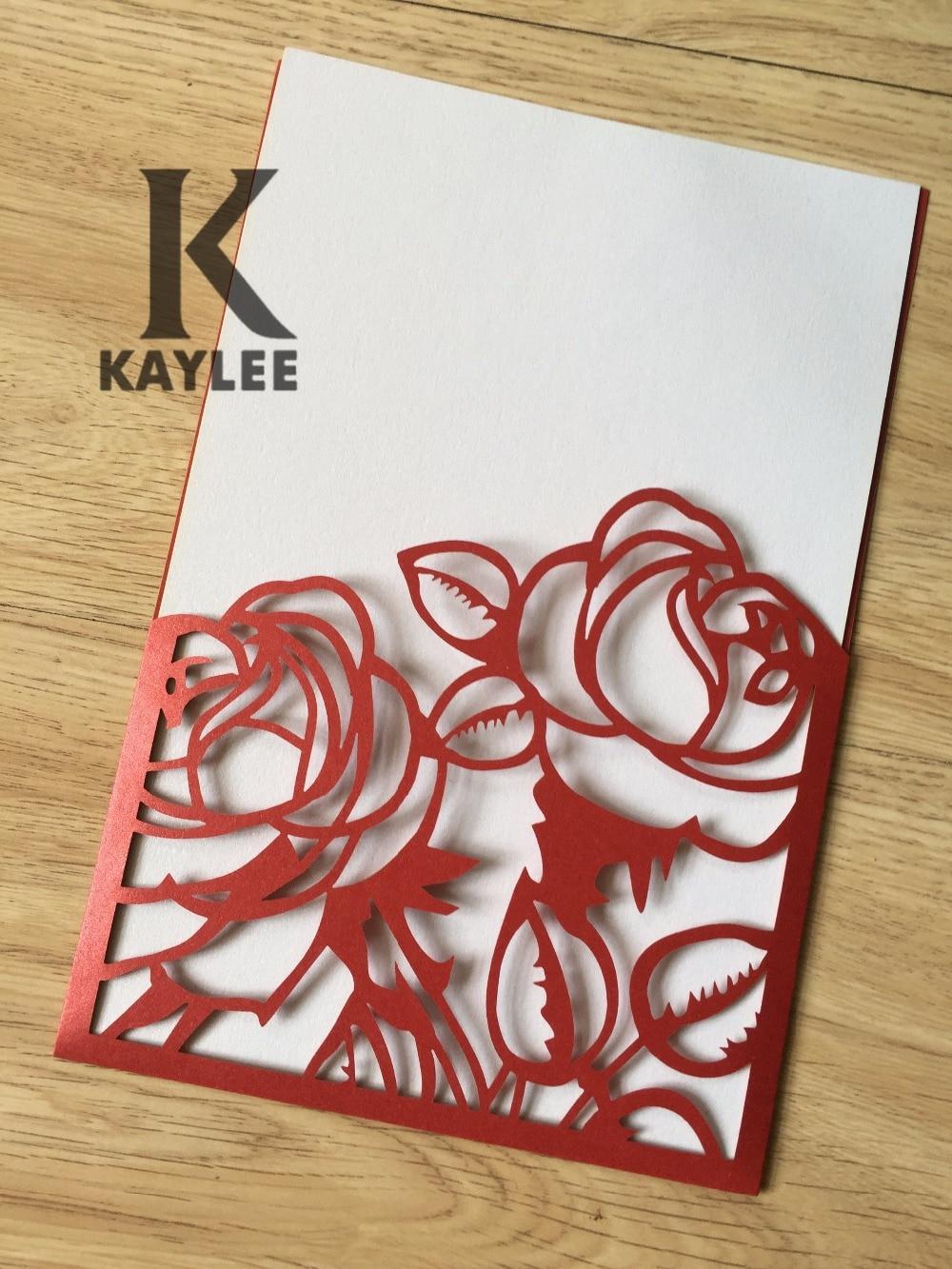 50pcs Red Rose Wedding Invitaiton,Laser Cut Wedding Invitation Card ...