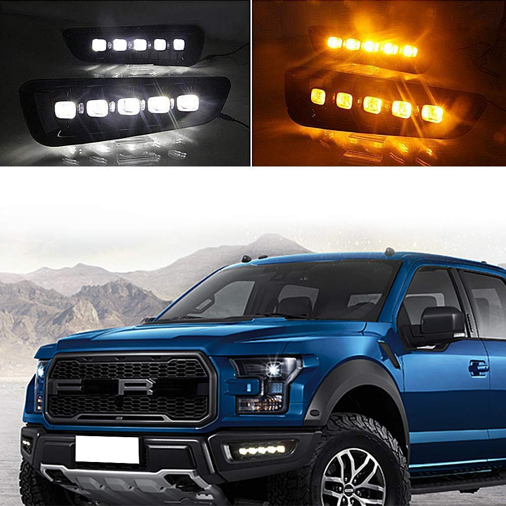 LED DRL for Ford F150 Raptor 2016 2017 2018 Fog Lamp White Daytime Running Light with yellow TURN SIGNAL