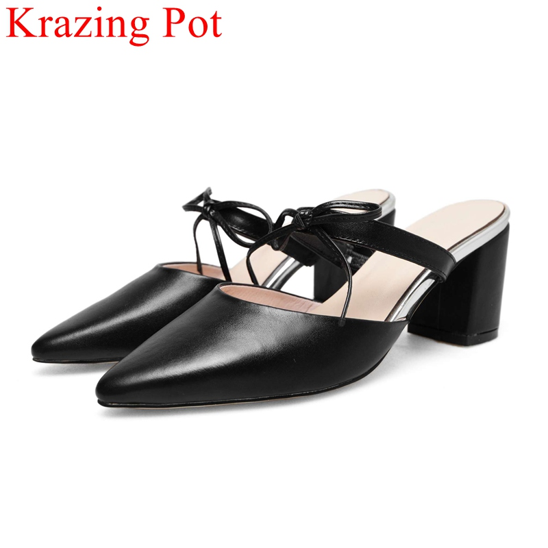big size pointed toe high heels square heel genuine leather women sandals slingback elegant office lady mules summer shoes L62 handmade genuine leather sandals women shoes lady high quality 2017 summer red silvery closed toe medium heels big size 10 41 42