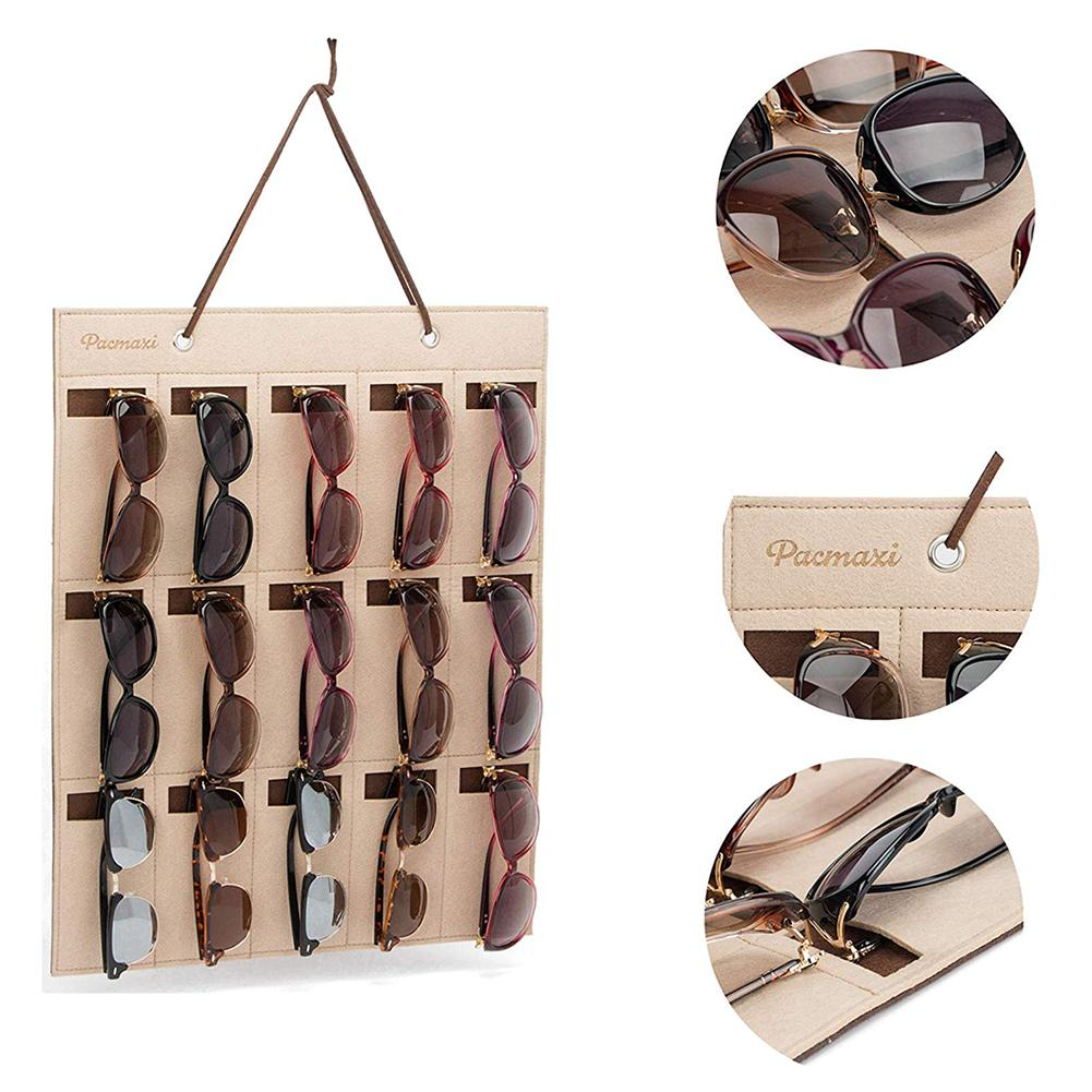 Image 5 - Portable Sunglasses Storage Bag Soft Cloth Hanging Bag Women's Men's Sunglasses Organizer Wall Decoration-in Storage Holders & Racks from Home & Garden