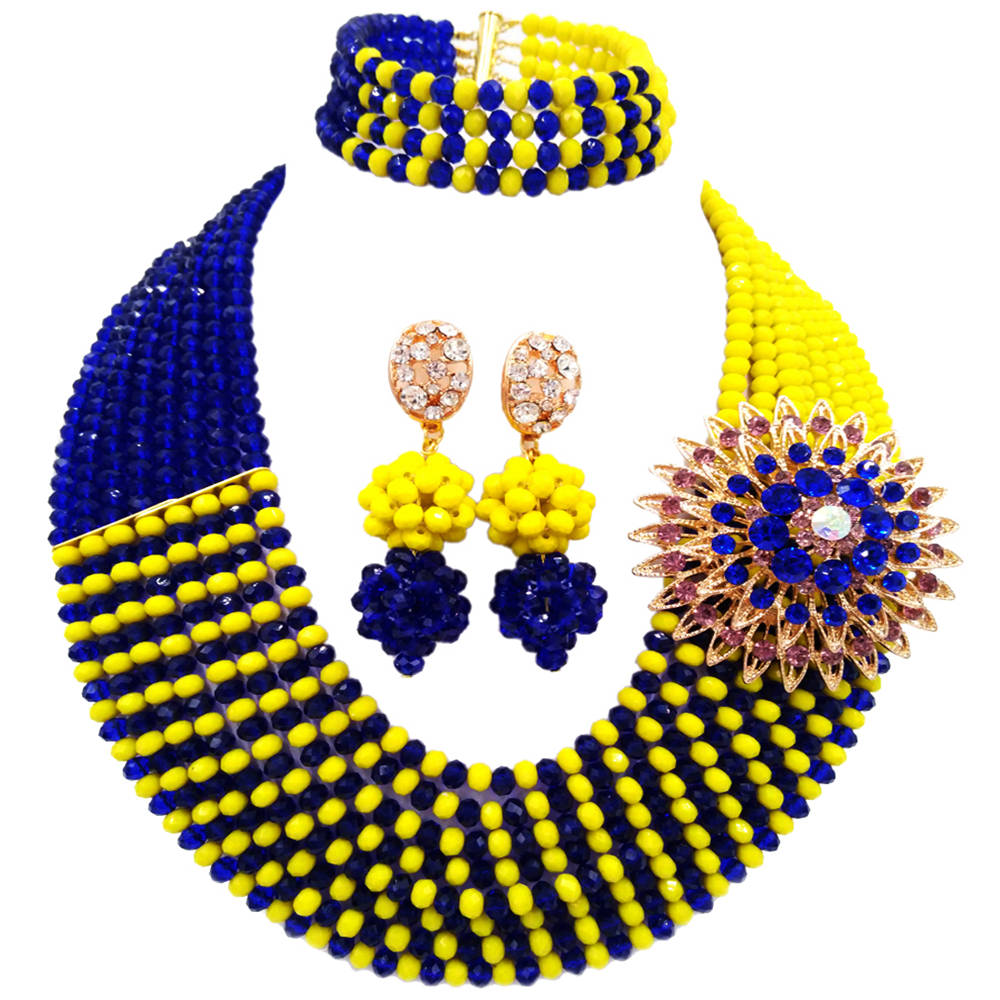 Fashion Royal Blue and Opaque Yellow African Beads Jewelry Set Crystal Necklace Sets 8JBK12Fashion Royal Blue and Opaque Yellow African Beads Jewelry Set Crystal Necklace Sets 8JBK12