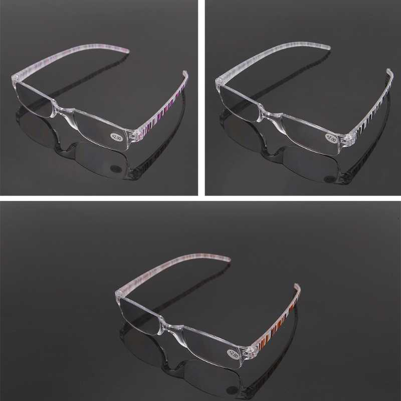 Unisex Clear Stripe Rimless แว่นตา Reader + 1.00 ~ + 4.00