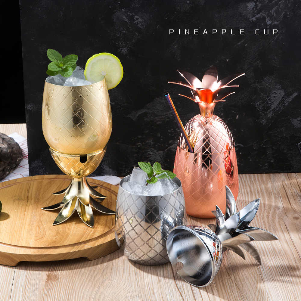 TOPINCN Pineapple Cup Stainless Steel Pineapple Cup Wine Cocktail Cup Mug Drinking Bar Tool Rose Gold