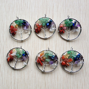 Image 3 - Wholesale 12pcs/lot fashion 7 chakra natural stone Tree of life handmade wire wrapped Pendants 30mm for jewelry marking free