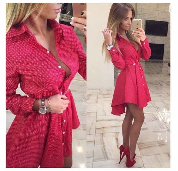 2017 Новый осенняя мода Женщины Shirt Dress Маленькие точки Напечатаны Мода Нерегулярные Длинным Рукавом Мини Vestidos платья