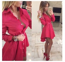 2017 New autumn fashion Women Shirt Dress Small dots Printed Fashion Irregular Long Sleeve Mini Vestidos dresses