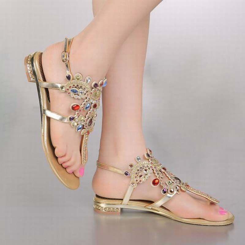 a018e6fd3ee2ab Plus Size34-44 hot 2018 Luxury fashion Ladies Flat Rhinestone Sandals Women  National Wind Bohemia