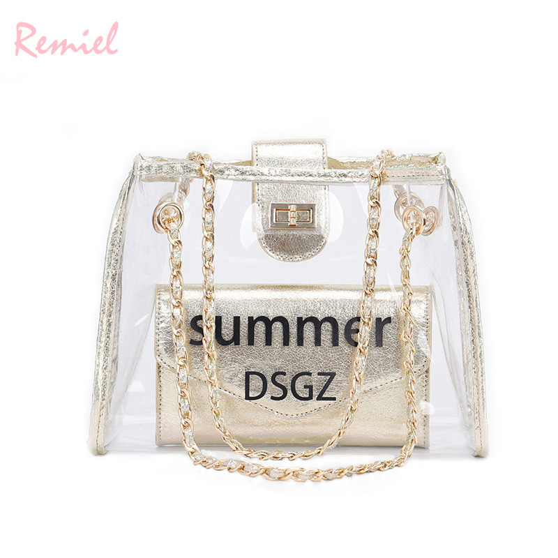 2018 Summer New Handbags High quality PVC Transparent Jelly Women bag Simple  Chain Travel Tote Shoulder bag Letter Crossbody Bag-in Shoulder Bags from  ... cc83597924ecc