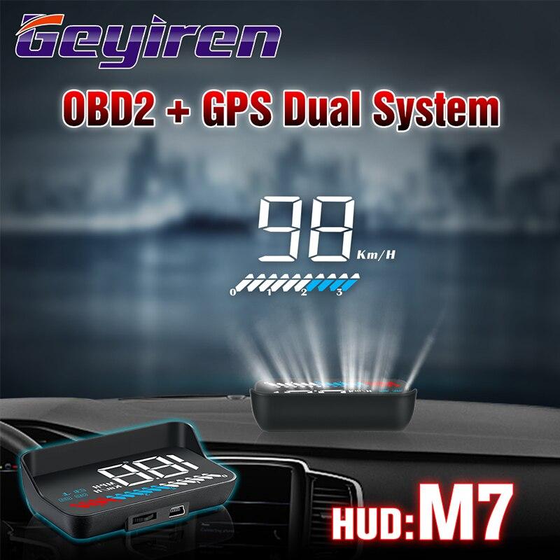 GEYIREN hud obd head up display OBD2 + GPS Dual System M7 gps Overspeed car obd2