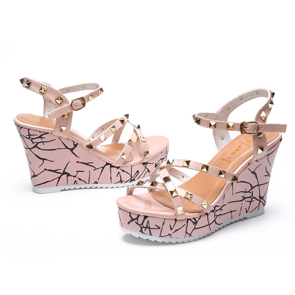 Zapatos Mujer 2018 Shoes Woman Sandals Wedge Summer Lady Fashion High Heels Sandals Elegant Rivets Women Shoes Platform Wedges 27