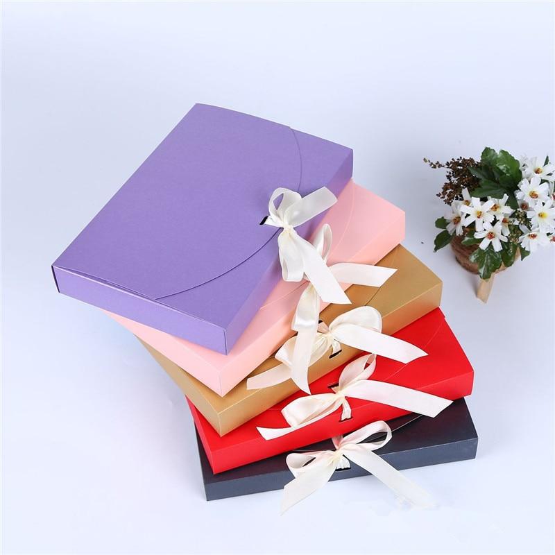 100 قطع 26x17.5x3.5 سنتيمتر كبيرة هدية مربع التجميل زجاجة وشاح ملابس التغليف اللون ورقة مربع مع الشريط داخلية التعبئة مربع-في حقائب ومستلزمات تغليف الهدايا من المنزل والحديقة على  مجموعة 1