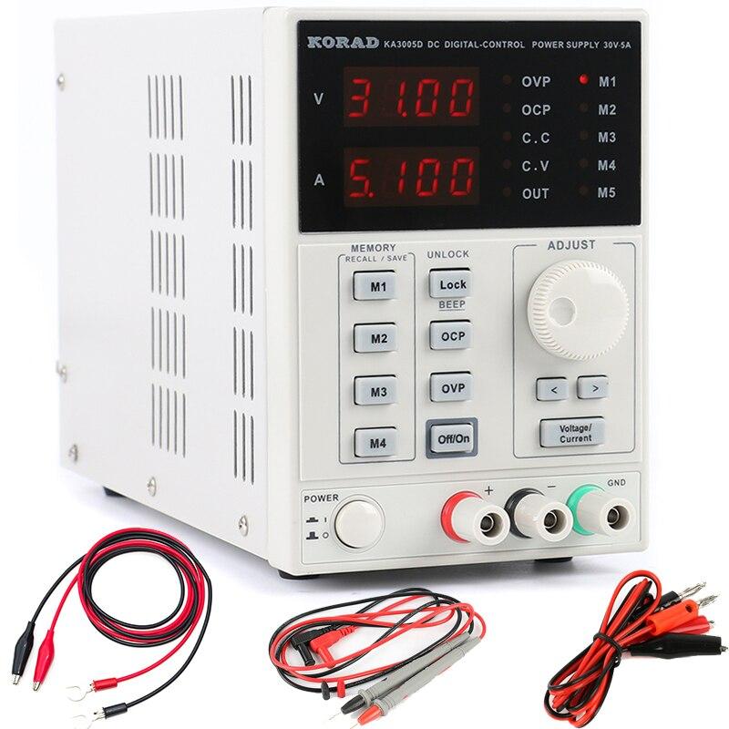 KORAD KA3005D Adjustable Digital Programmable DC Power Supply Laboratory Power Supply 30V 5A + Multimeter probe For LAB Research