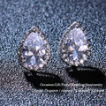 2016 Classic Earings White Gold Plating Inlay Pear Shape Cubic Zirconia Earrings Stud For Women Boucle d'oreille WE006