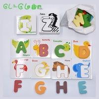 מכתב קוגניטיבית תינוק פאזל 3d עץ צעצועים חינוכיים פאזל מתכת מחקר כרטיס כדי לעזור לתינוק להכיר 26 מכתבים צבעוני
