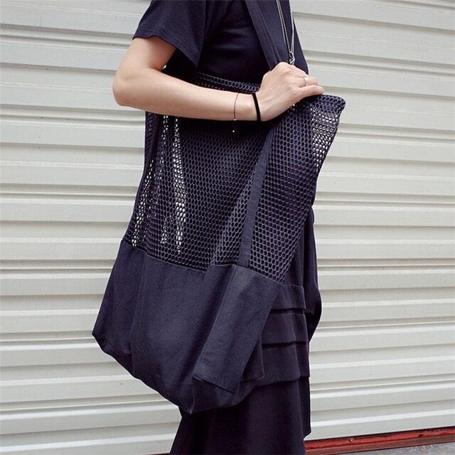 Mesh Hollow Reusable Canvas Shopping Bag 1