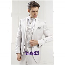 New Fashion Style Two Button White Groom Tuxedos Groomsmen Men's Wedding Prom Suits Bridegroom (Jacket+Pants+Vest+Tie) K:982