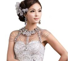 10pcs/lot Wedding Bridal Crystal Necklace Shoulder Chain Crystal  Multitier Tassel Necklet Woman's Adornment jj010