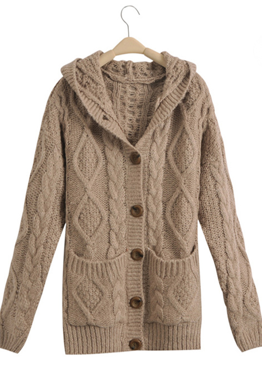 Online Shop Apricot Hooded Long Sleeve Cardigan Sweater Coat ...
