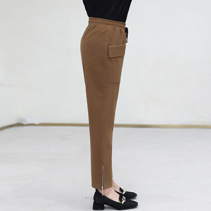 Cintura Tamaño Plus Con Delgado Clásico Elástica Pantalones Black De Bolsillo Moda Las 1502 Mostrar Mujeres Cordón coffee YqqRdw