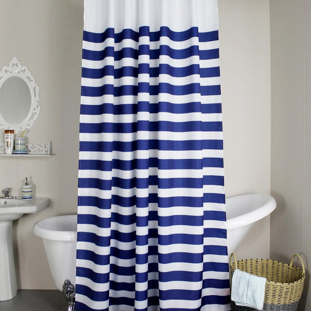 MangGou Fabric Shower Curtain,Nautical Stripes Shower Curtain Liner ...