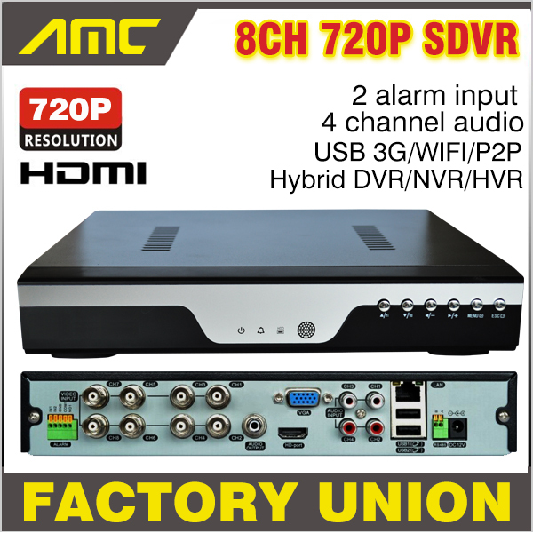 Upgrade 720P Realtime Recording CCTV 8CH AHD H.264 DVR 8 Channel Hybrid HVR NVR SDVR Recorder Analog + IP Camera 3G WIFI Alarm