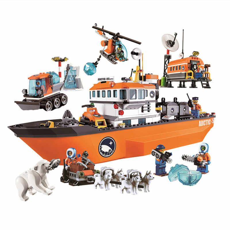 760pcs Arctic Icebreaker Wolf Sled Aircraft Adventure Legoed Puzzle Assemblig Model Building Blocks Kit Toys Gifts