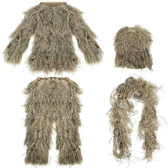 747356e14bb4d Children Kids 3D Broken Filament Camouflage Clothing Ghillie Suit  Camouflage Suit for Outdoor Jungle Woodland Hunting Bird Watch