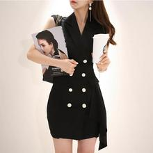 42cccccfc0f black blazer vest dress women summer 2018 korean fashion office work  overall dress Double Breasted Suit