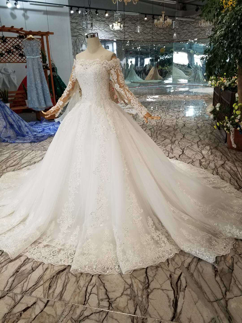 Image 3 - HTL108 bohemian wedding dress like white off the shoulder boat neck long tulle appliques sleeves wedding gown simple beach styleWedding Dresses   -