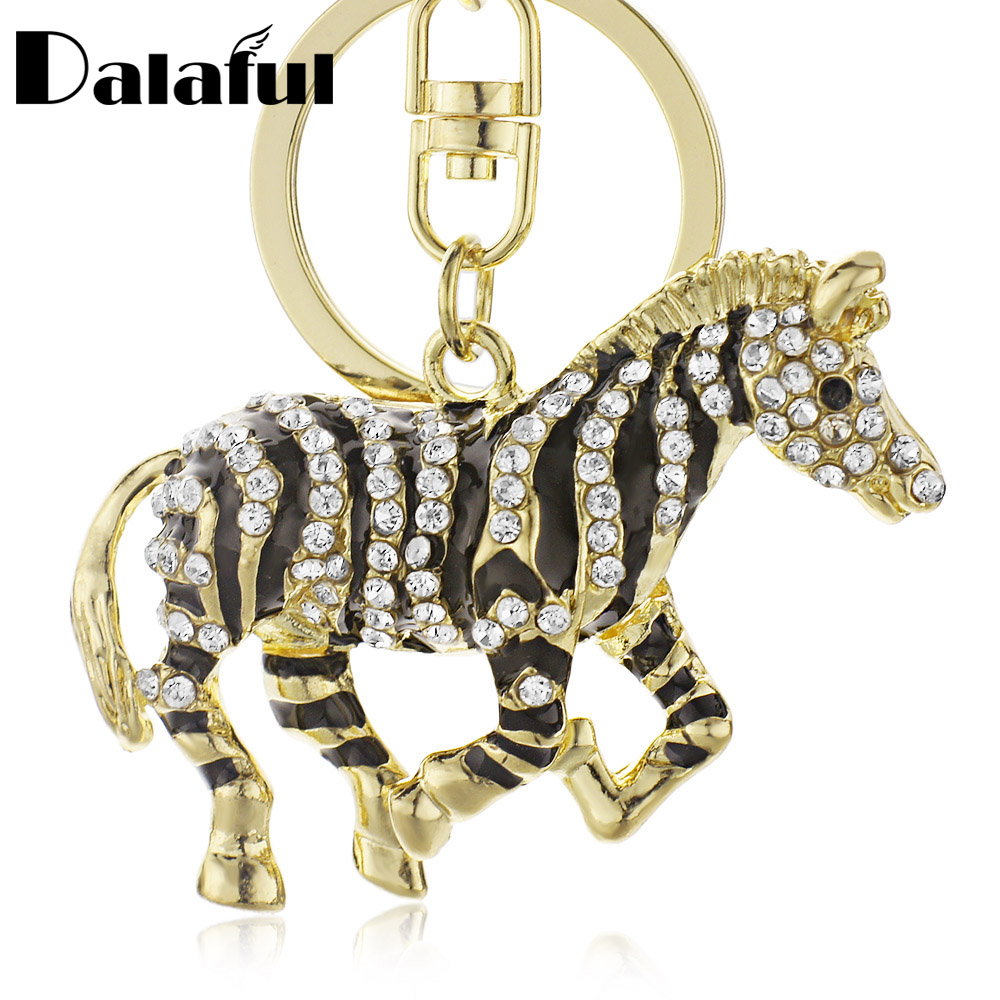 Detail Feedback Questions about Dalaful Black Zebra Horse Crystal Rhinestone  Metal Bag Pendant Key chains Holder women Keyrings Keychains For Car K180  on ... 53bfd37b0a